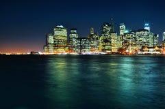 Manhattan night scene Royalty Free Stock Image
