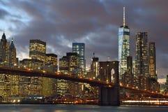 Manhattan at night. Stock Photos