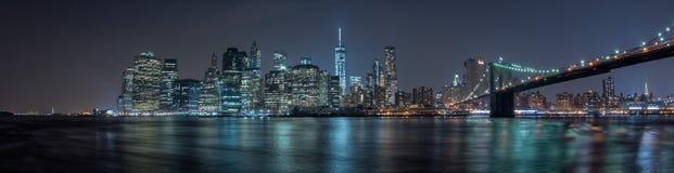 Manhattan night view from brooklyn Royalty Free Stock Photos