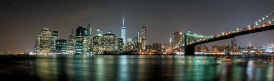 Manhattan night view from brooklyn Stock Photo