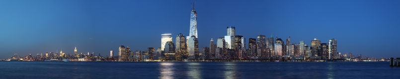 Manhattan night view. Dowtown Manhattan panoramic view at everning Royalty Free Stock Photography