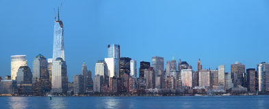 Manhattan night view. Dowtown Manhattan panoramic view at everning stock images