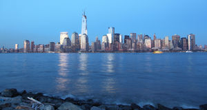 Manhattan night view. From Liberty State Park to view dowtown Manhattan at everning royalty free stock photo