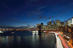 Manhattan at night. Night view of Lower Manhattan with Brooklyn Bridge and FDR Drive Royalty Free Stock Photography
