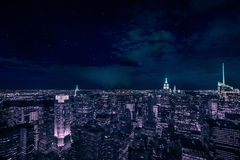 Manhattan during night. View over Manhattan Skyline in the night Stock Photos