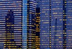 Manhattan Nowy Jork Pieniężni Gromadzcy budynki biurowi abstrakcjonistyczni Zdjęcia Royalty Free