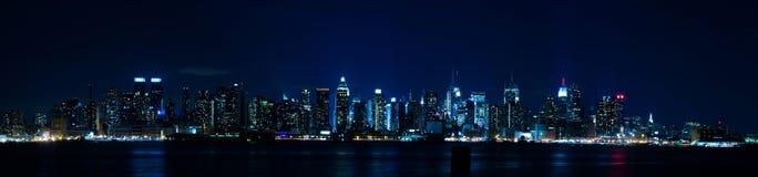 manhattan ny panoramahorisont york Arkivbild