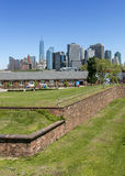 Manhattan, NYC seen from Fort Jay on Governors Island. Manhattan, New York City seen from Fort Jay on Governors Island Royalty Free Stock Photo