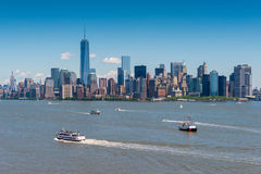 Manhattan NYC vue de Liberty Island Photographie stock
