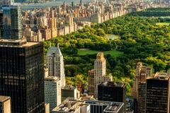 Manhattan och Central Parksikt Royaltyfri Bild