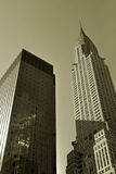 Manhattan offices. 42nd street of Midtown Manhattan in sepia Royalty Free Stock Photography