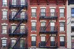 Manhattan, old building with fire escapes royalty free stock image