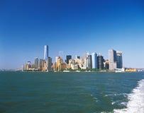 Manhattan op een zonnige dag Stock Foto's