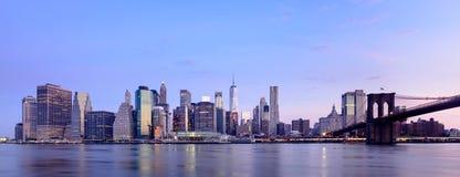 Manhattan op zonsondergang Stock Foto