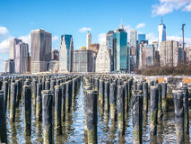 Manhattan Over the Docks. View of Manhattan from the docks in Brooklyn Stock Image