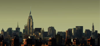 Manhattan Panorama. Dotted view on Manhattan from Brooklyn Bridge, Empire State Building Royalty Free Stock Photo