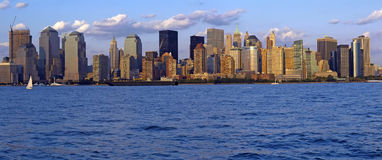 Manhattan panorama. Lower manhattan panorama, financial district, photo taken from jersey city Stock Photography