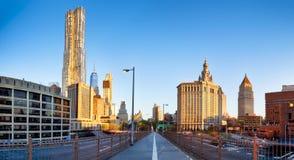 Manhattan-Panorama mit Wolkenkratzern, NYC Lizenzfreie Stockbilder