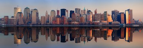 Manhattan Panorama, New York City. At sunset with reflection Royalty Free Stock Images