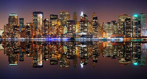 Manhattan panorama, New York City. Skyline at night with reflection Stock Photography