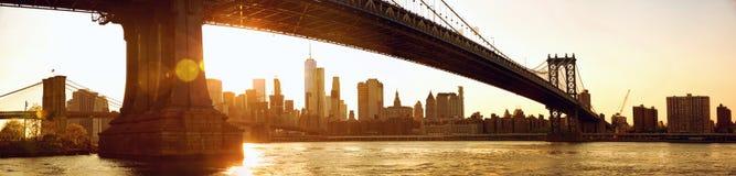 Manhattan panorama przy zmierzchem fotografia royalty free