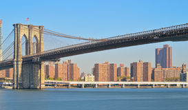 Manhattan panorama. Panorama of Manhattan skyline with Brooklyn Bridge Royalty Free Stock Images