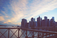 Manhattan panorama on summer sunset in the New York City Royalty Free Stock Image