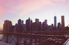Manhattan panorama on summer sunset in the New York City Stock Photos