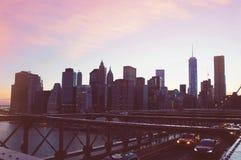 Manhattan panorama on summer sunset in the New York City Stock Photos