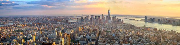 Manhattan panorama. At sunset aerial view, New York, United States Stock Images