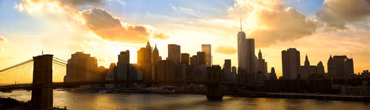 Manhattan panorama at sunset Royalty Free Stock Photo