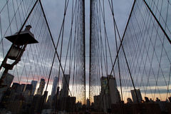 Manhattan panorama view through brooklyn bridge cables Royalty Free Stock Photography