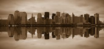 Manhattan panoramic. Beautiful Manhattan panoramic in sepia tone Stock Images