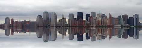 Manhattan panoramic. With beautiful reflection during daytime Stock Images