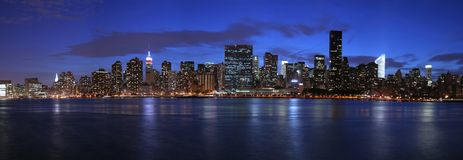 Manhattan panoramic. At twilight (very large and detailed file Royalty Free Stock Images