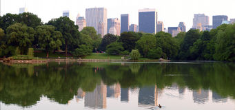 Manhattan Panoramic. Looking accross the lake at sunset towards Central Park South Royalty Free Stock Photo