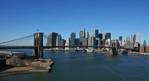 Manhattan panoramic- aerial view. Manhattan and Brooklyn Bridge panoramic- aerial view Royalty Free Stock Images