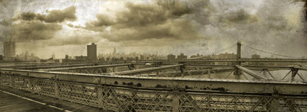Manhattan Panoramic on grunge Stock Image