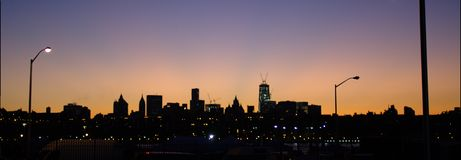 Manhattan panoramic view from Brooklyn at dusk Royalty Free Stock Photography