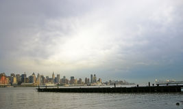 Manhattan and Pier Royalty Free Stock Images