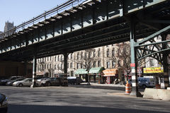 Manhattan railroad and urban shops New York USA Royalty Free Stock Images