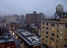 Manhattan with rain as evening falls Stock Photos