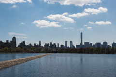 Manhattan and The Reservoir in Central Park Royalty Free Stock Image