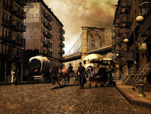 Manhattan retro. View of a city street with crowd inspired on Manhattan in early twentieth century, on a sepia and grunge background royalty free illustration