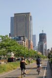 Manhattan Riverside Cycling Trail Royalty Free Stock Photos