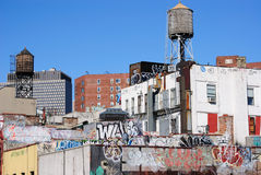 Manhattan Rooftops. Gritty Manhattan rooftops with graffiti Royalty Free Stock Images