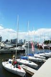 Manhattan Sailing School yachts at the North Cove Marina at Battery Park Royalty Free Stock Photos
