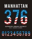 Manhattan Set Number Flag USA Typography design Stock Photos