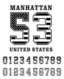 Manhattan Set Number Texture Flag USA. Vector Image Stock Image