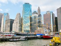 Manhattan: Ships on historic South Street Seaport and Pier 17 Royalty Free Stock Photo